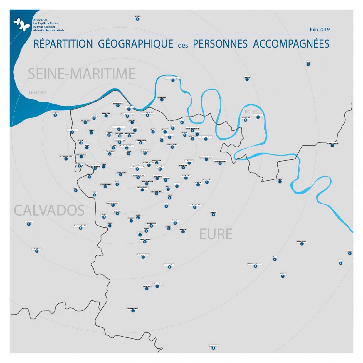 Carte de la provenance des personnes accompagnées par les papillons blancs de Pont-Audemer